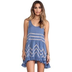 Free People Voile and Lace Trapeze Slip - Sky Blue